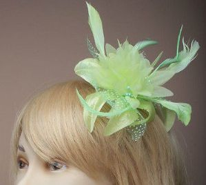 Green Flower Fascinator - Lime Green Hair Fascinator | Masks and Tiaras